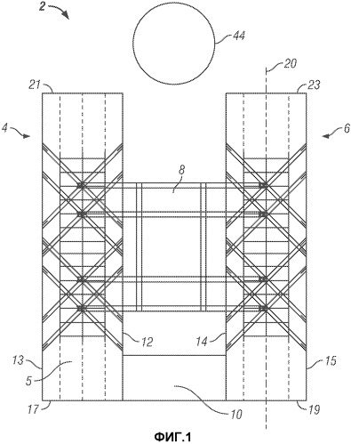 Система баржи со стабилизированной вертикальной качкой для бескрановой установки верхнего строения на морском основании