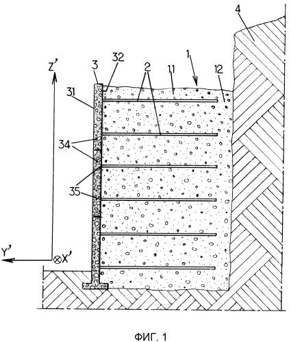 Элемент облицовки для использования в конструкции со стабилизированным грунтом