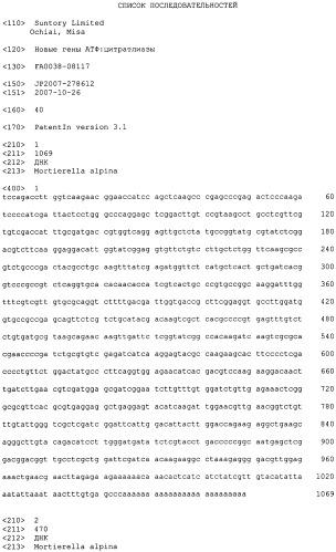 Новые гены атф:цитратлиазы