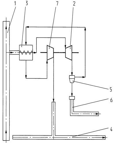 Способ раздачи природного газа с одновременной выработкой сжиженного газа при транспортировании потребителю из магистрального трубопровода высокого давления в трубопровод низкого давления
