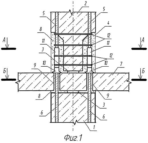 Стыковое соединение сборных железобетонных колонн с перекрытием