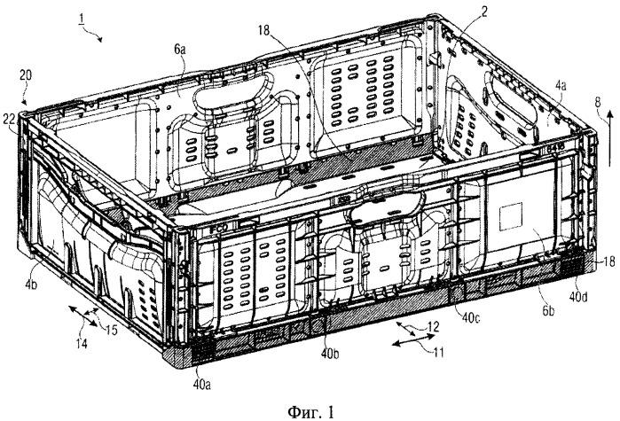 Ящик, имеющий складные боковые стенки с прочной конструкцией
