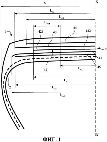 Шина для автомобилей большого веса или большой грузоподъемности, содержащая слой окружных усилительных элементов, состоящий из центральной части и двух частей, наружных в аксиальном направлении