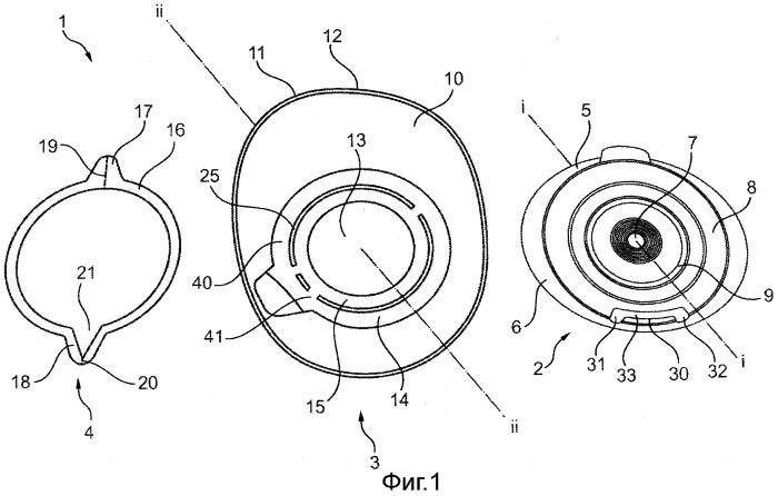 Двухкомпонентное устройство для ухода за стомой с направляющим вспомогательным средством для соединения