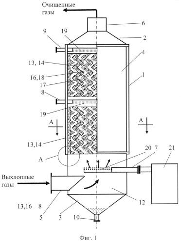 Комплексное устройство для очистки выхлопных газов судового двигателя