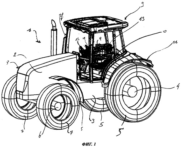 Сельскохозяйственное транспортное средство, оснащенное кабиной с двойным полом