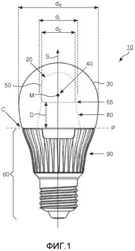 Источник света, содержащий излучатель света, скомпонованный внутри прозрачной внешней колбы