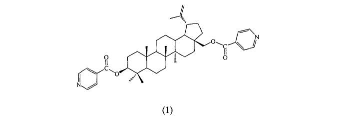 Средство, представляющее собой бисизоникотиноат бетулина, проявляющее противоязвенную, противовоспалительную и гепатопротекторную активность