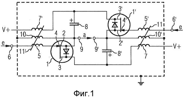 Двухтактный усилитель с индуктивной синфазной развязкой