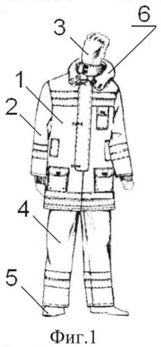 Костюм боевой одежды спасателей, действующих в условиях горящих объектов при наличии летящих и падающих предметов разрушающегося объекта и при радиоактивном излучении