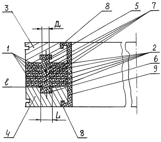 Тонкослойный резинометаллический элемент