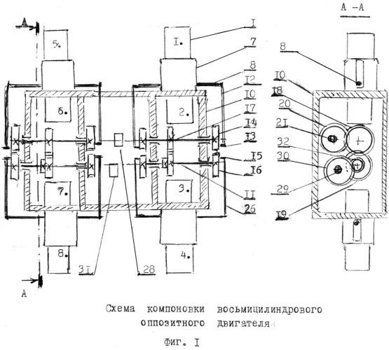 Восьмицилиндровый оппозитный двигатель