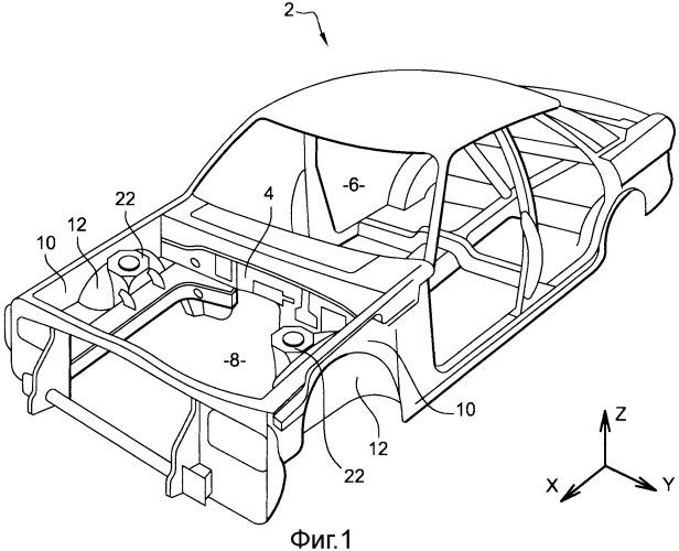 Автомобильная конструкция и автомобиль, содержащий такую конструкцию