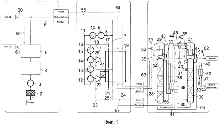 Способ и устройство для получения жидкого азота путем разложения воздуха при низкой температуре