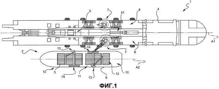 Способ и комплект для перегрузки труб с транспортного судна на судно-трубоукладчик