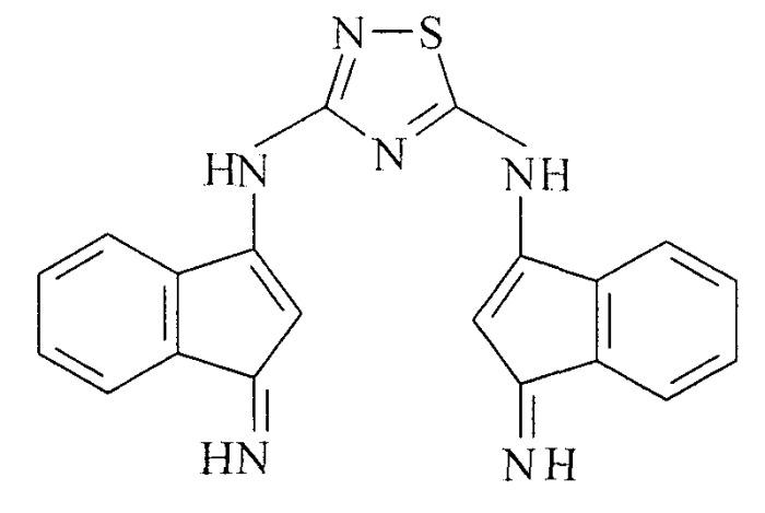 N3, n5-бис[(1z)-1-имино-2-метил-1h-инден-3-ил]-1, 2, 4-тиадиазол-3, 5-диамин, обладающий свойством кислотного красителя и как исходное соединение для синтеза макрогетероциклического соединения