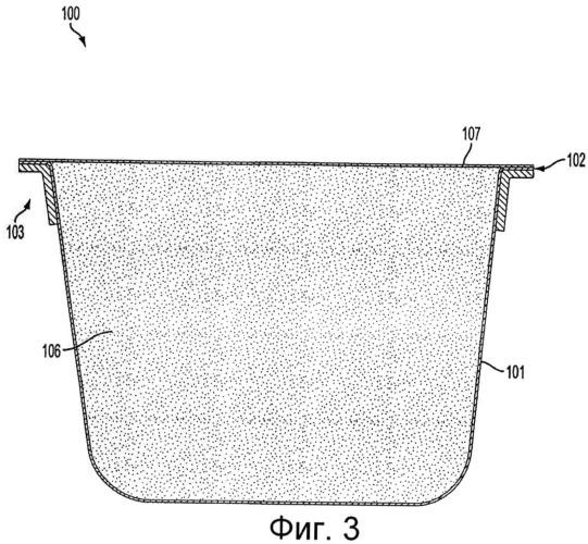 Фильтрующий проницаемый термоформованный контейнер для продуктов приготовления напитка, содержащий кольцо усиления