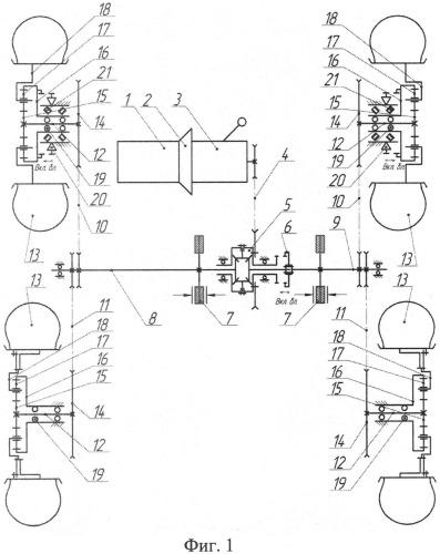 Трансмиссия легкого колесного вездехода с бортовым поворотом