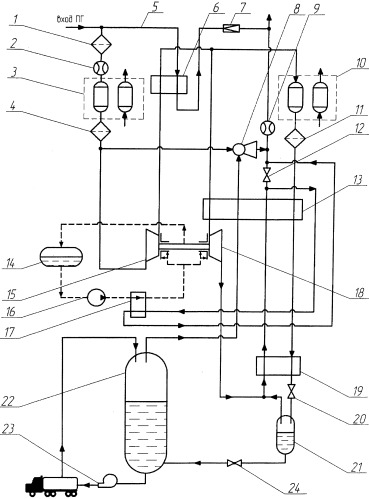 Способ производства сжиженного природного газа и комплекс для его реализации
