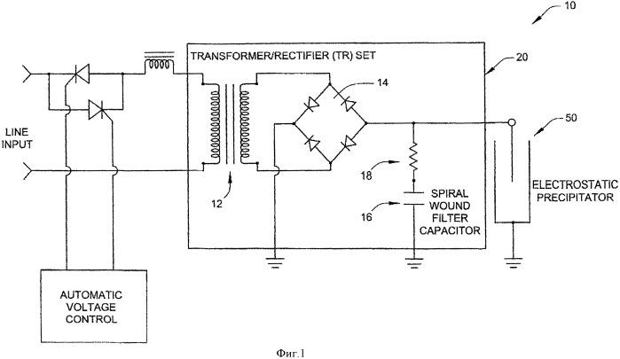 Устройство и компоновка для размещения компонентов схемотехники кондиционирования и фильтрации напряжения для ловушки с электростатическим осаждением