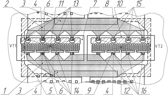 Выводная рамка для многокристального полупроводникового прибора свч
