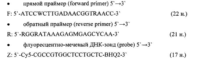 Набор олигодезоксирибонуклеотидных праймеров и флуоресцентно-меченого зонда для идентификации днк бокавируса человека
