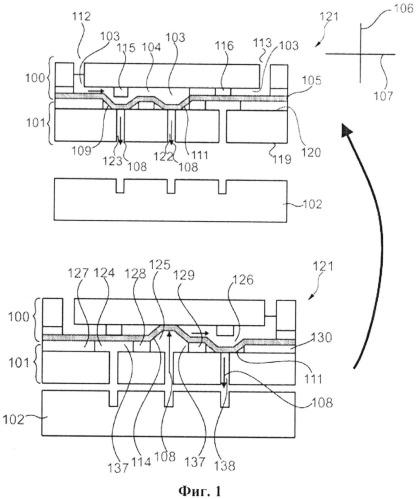 Микроструйный картридж с параллельной пневматической интерфейсной платой