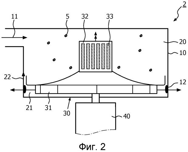 Узел для нагнетания воздуха, содержащего частицы, и для отделения частиц от воздуха