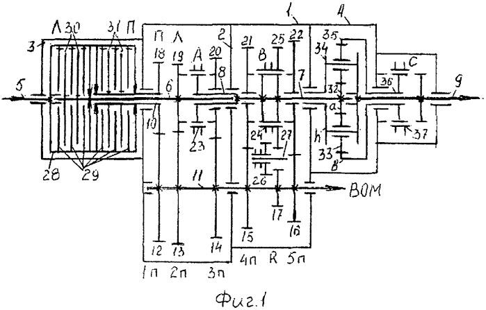 Шестнадцатиступенчатая вальнопланетарная коробка передач 16r4 со сдвоенным сцеплением