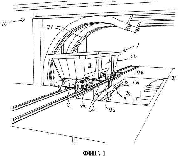Система для опрокидывания грузового контейнера, а также транспортное устройство с контейнером для сыпучих грузов