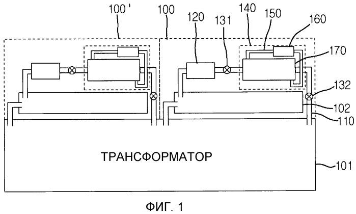 Устройство охлаждения теплообменного типа для трансформатора