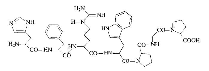 Равномерномеченный дейтерием или тритием his-phe-arg-trp-pro-gly-pro