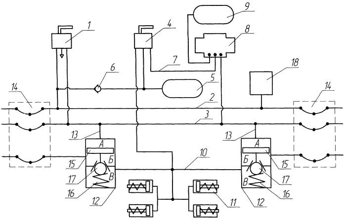 Тормозная система многосекционного железнодорожного транспортного средства