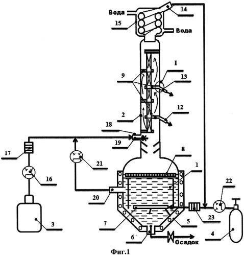 Устройство для ректификационной перегонки жидкой фракционной смеси в токе носителя