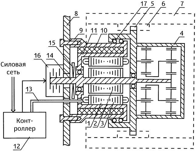 Электромеханический тяговый модуль гусеничной машины