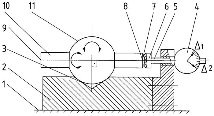 Устройство для измерения отклонений расположения плоскостей относительно центра наружной сферической поверхности детали