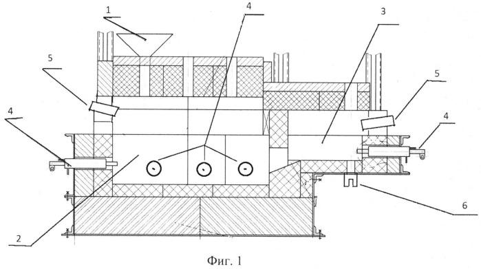 Газоэлектрическая печь для выработки волокна из горных пород, преимущественно базальта
