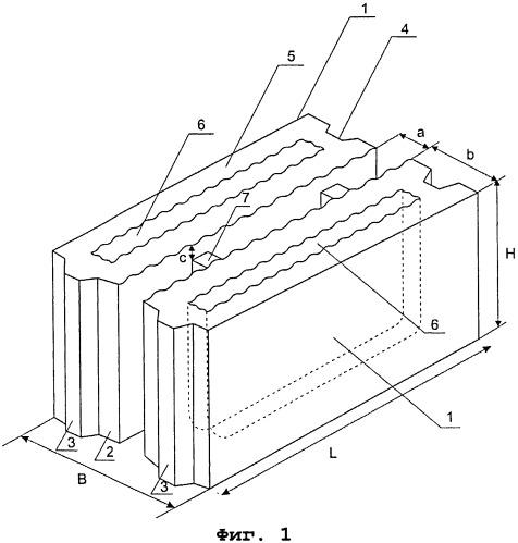 Набор бетонных камней для сооружения стеновой конструкции
