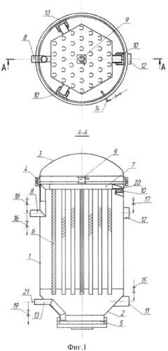 Фильтр патронный для фильтрования суспензий под давлением и просушки осадка сжатым воздухом (тип птк)