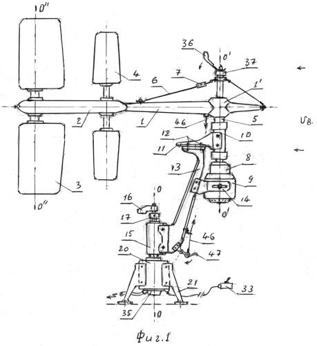Сбалансированная ветроустановка с колеблющимися вертикальными лопастями