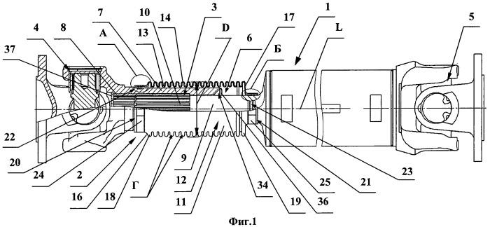 Карданный вал с защитным устройством подвижного шлицевого соединения