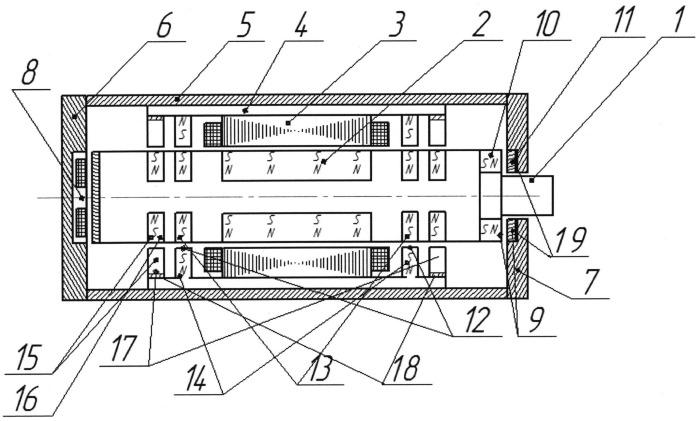 Система на гибридных магнитных подшипниках