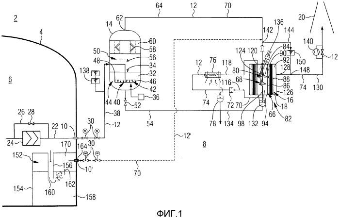 Способ сброса давления атомной электростанции, система сброса давления для атомной электростанции, а также соответствующая атомная электростанция