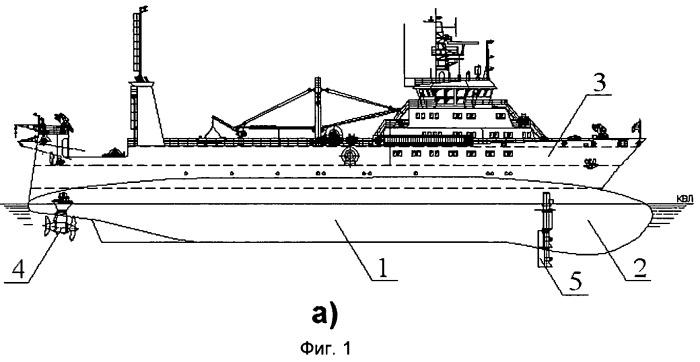 Рыбопромысловое судно с корпусом комбинированной формы и поворотными винторулевыми колонками