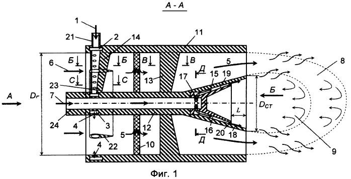 Способ сжигания предварительно подготовленной бедной топливовоздушной смеси в двухконтурной малоэмиссионной горелке с применением диффузионного стабилизирующего факела