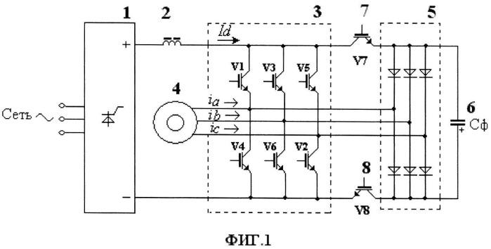 Частотно-токовый электропривод и способ коммутации вентилей в его схеме