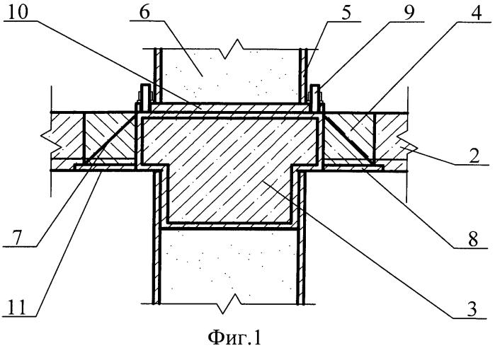 Узел соединения колонн и плиты перекрытия