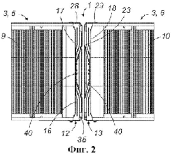 Гибкая конструкция, обеспечивающая проход для сообщения между двумя последовательными платформами с колесным шасси