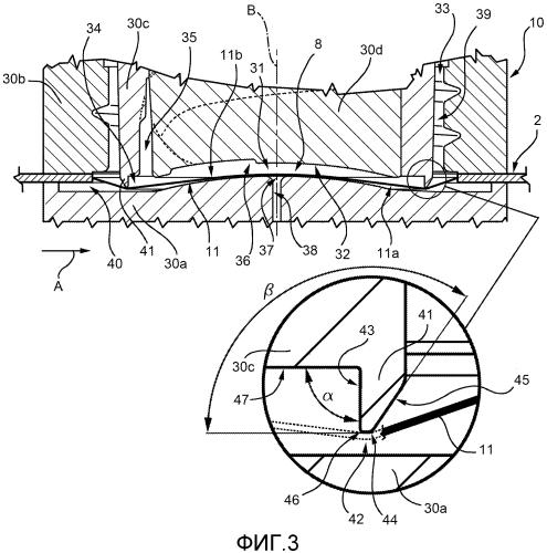 Устройство и способ литьевого формования открывных устройств на листовом упаковочном материале для упаковки текучих пищевых продуктов