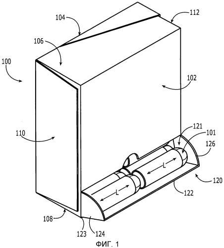 Картонная коробка с двумя раздатчиками, подлежащими повторной герметизации